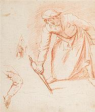 Jan Anton GAREMYN (Bruges 1712 – 1799) Drawings Homme tenant une pince à feu avec reprise a gauche de la main et du bras Sanguine 17...