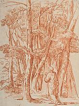 Attribué à Michel CORNEILLE (Paris 1642-1708) Saint Hubert dans une forêt Sanguine 34,2 x 25,5cm Drawings Pliures et accidents sur...
