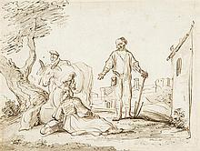 Jan VICTORS (Amsterdam 1619/20 – c.1676) Drawings Le Lévite et sa concubine acceptant l'hospitalité d'un vieillard à Gibea Plume et...