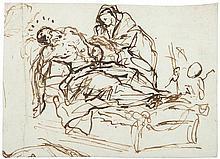 Giuseppe PASSERI (1654 – 1714) La mort de Saint Joseph Plume et encre brune 13 x 18cm Petit trou au centre Drawings