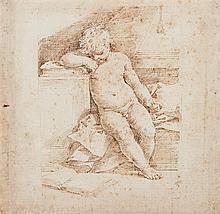 Atelier de Donato CRETI (1671 – 1749) L'apprentissage de la lecture Plume et encre brune 17,8 x 18,2cm Drawings Inscription ancienn...