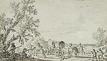 Attribué à Pieter MOLIJN (Londres 1595 – Haarlem 1661) L'attaque du convoi Crayon noir et lavis gris Drawings 14,5 x 25cm