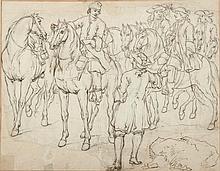 Adam Frans VAN DER MEULEN (Bruxelles 1632 – 1690) et son atelier Étude d'un groupe de cavaliers Drawings Contre-épreuve de pierre no...