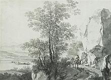 École hollandaise du XVIIIesiècle Vue animée d'Italie Lavis gris sur traits de crayon noir 33,8 x 45cm Drawings Pliure centrale ve...
