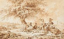 Jean-Baptiste HILAIRE (1753-1822) Le repos des voyageurs à l'entrée d'une ville ottomane Drawings Plume et encre brune sur traits de...