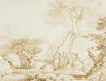 Nicolas-Antoine TAUNAY (1755 – 1830) Les amants découverts Lavis brun sur traits de crayon noir 18 x 23,5cm Drawings Signé en bas