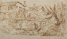 École française du XVIIIesiècle le pont des soupirs Plume et encre brune sur traits de crayon noir 9,5 x 16cm Drawings On joint tr...