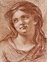 École romaine de la fin du XVIIesiècle Tête de femme Sanguine 23,5 x 17,5cm Drawings Petites taches et petites déchirures restauré...