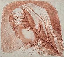 École française du XVIIIesiècle Étude de tête féminine de profil gauche Sanguine 39 x 44cm Drawings Pliures et petits trous dans l...