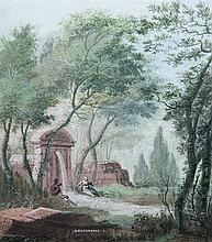 Abraham RADEMAKER (Lisse 1675 - Haarlem 1735) Paysage classique animé Gouache 13,5 x 12cm Drawings Signé en bas au centre