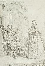 École française du XVIIesiècle Scène de l'École des Femmes d'après Boucher Crayon noir 19 x 13cm Drawings