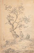 Franz Joseph MANSKIRCH (Dantzig 1770 – 1830) Berger assis sur une souche Drawings Crayon noir sur papier préparé rose 41,5 x 28cm S...