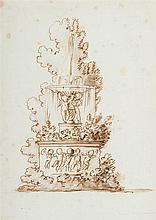 École française de la fin du XVIIIesiècle Étude de fontaine avec des amours dansant Drawings Plume et encre brune, lavis brun sur t...
