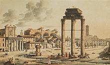 Victor-Jean NICOLLE (Paris 1754-1826) Vue animée du Forum Aquarelle, plume et encre brune 17 x 29cm Drawings Signé en bas à gauche...