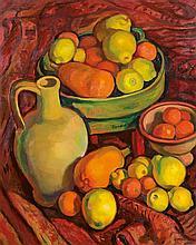 AUGUSTIN FERRANDO (1880-1957) NATURE MORTE AUX FRUITS STILL LIFE WITH FRUITS Huile sur isorel signé au milieu à droite. 93.5 X 77,5c...
