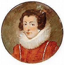 MONTIGNY sur LOING Plat circulaire en faïence, présentant un portrait de femme noble, en costume du XVIesiècle, émaux polychromes. S...