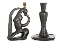 ANNÉES 50 Suite de deux pieds de lampe en faience émaillé noir lustré: - Scultpure-lampe