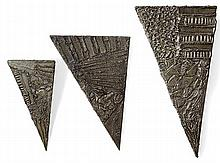 PAUL EVANS (1931-1987) A Set of three welded steel and braised bronze accents and a brushed finish triangular shelf-brackets, ca