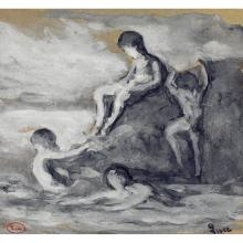 Maximilien LUCE (1858-1941) Rolleboise, la baignade dans la Seine Lavis et rehaut de gouache sur papier Porte le cachet de l'atelier...