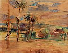 JEAN DUFY (1888-1964) Vue de village Aquarelle sur papier Signée en bas à droite 42 x 54cm