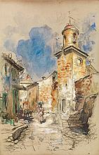 HENRI-éMILIEN ROUSSEAU (1875-1933) SCÈNE DE RUE À FONTVIEILLE Fusain, aquarelle et gouache sur papier signé en bas à gauche 45 x 31...