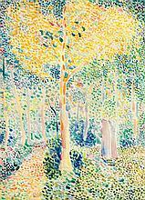 Hippolyte Petitjean (1854-1929)Paysage Aquarelle sur papier Porte le cachet de l'atelier en bas à gauche 41 x 30cm