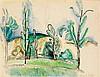 Raoul DUFY (1877-1953) Paysage, 1913 Aquarelle et crayon sur papier Signée en bas à droite 25,2 x 33cm