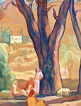 Augustin Ferrando (1880-1857) Détente sous les arbres Gouache sur papier 61 x 48cm