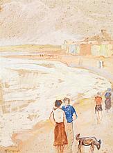 Augustin Ferrando (1880-1957) A la plage Gouache et aquarelle sur papier Signée en bas à gauche 61 x 46cm