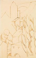 André Lhote (1885-1962) AXAT, 1912 Encre sur papier Signée en bas à droite 19,5 x 13cm