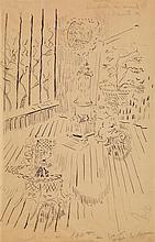 Constantin Terechkovitch (1902-1978) Scène d'intérieur avec les filles de l'artiste Encre sur calque Signée et titrée au dos 51 x 32...