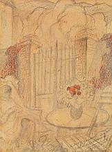 Augustin FERRANDO (1880-1857) Au jardin Crayon et pastel sur papier Signé et dédicacé en bas à droite 25,5 x 19,5cm