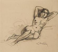 Almery Lobel-Riche (1880-1950) Nu allongé Fusain sur papier Signé en bas à droite 31 x 23 cm