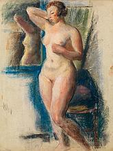 Adolphe Louis RIOU (1893-1958) Nu debout Pastel sur papier Cachet d'atelier en bas à gauche 63 x 49cm