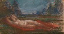Henri Petitpierre (1901-1961) Nu allongé, 1927 Pastel sur papier Signé et daté en bas à droite 29,8 x 16,4cm