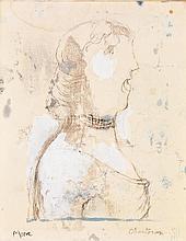 Henry Moore (1898-1986) Chanteuse Crayon et aquarelle sur papier marouflé sur toile Signé en bas à gauche Titré en bas à droite 28 x...