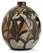 Charles CATTEAU (1880-1966) & KéRAMIS An ovoid enamelled stoneware vase, circa 1926. Signed