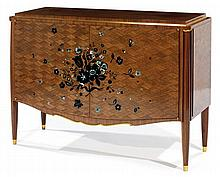 Jules Leleu (1883-1961) An oak and mahogany veneer and two doors commode decorated with a rosewood and mother of pearl marquetry, curve