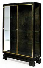 ANNEés 30 A blackened pear wood a lighting display window, bronze doors frame. Height. 63 3/4 in. - Width. 41 3/8 in. - Depth. 13 3/4 i