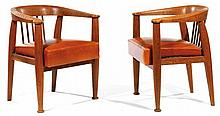 ALBERT GUÉNOT (1894-1993) & POMONE (Éditeur) A rare pair of oakwood armchairs, copper backrest's bars, seat upholstered with a later co