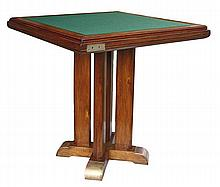 "LE BÛCHERON (DÉCORATEUR) A varnished elm square gaming table, from the ""Ile de France"" liner, 1949, bar from the cabin class'living roo"