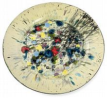 André Aleth MASSON (1919-2009) A large circular chamotte clay plate, with enamelled abstract decoration. Carved signature