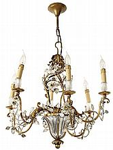 BAGUÈS A gilt metal and glass cage chandelier. Height. Ceiling Light. 26 3/8 in. - Diam. 26 3/8 in.