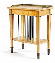 Eugène PRINTZ (1889-1948) & SAINT-GEORGES A small neo-classical cherry wood occasional table, with brass rods usable as racks. Height.