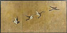 Années 50 A large decorative lacquered woodscreen figuring a birds flight formed from three articulated panels. Height. 47 1/4 in. - WI