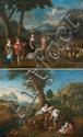 Ecole FRANÇAISE du XVIIème siècle suiveur de Claudine BOUZONNET-STELLA Le retour du travail Les vendanges Paire de toiles 60 x 74 cm...