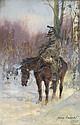Jerzy Kossak (1886-1955) Soldat à cheval, 1933 Huile sur carton Signée et datée en bas à droite 35,5 x 23,5 cm