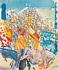 Jacob Kikoine (Jacques yankel dit) (1920-) Femme à la plage Gouache et pastel sur papier Signée en bas à droite 50 x 41 cm