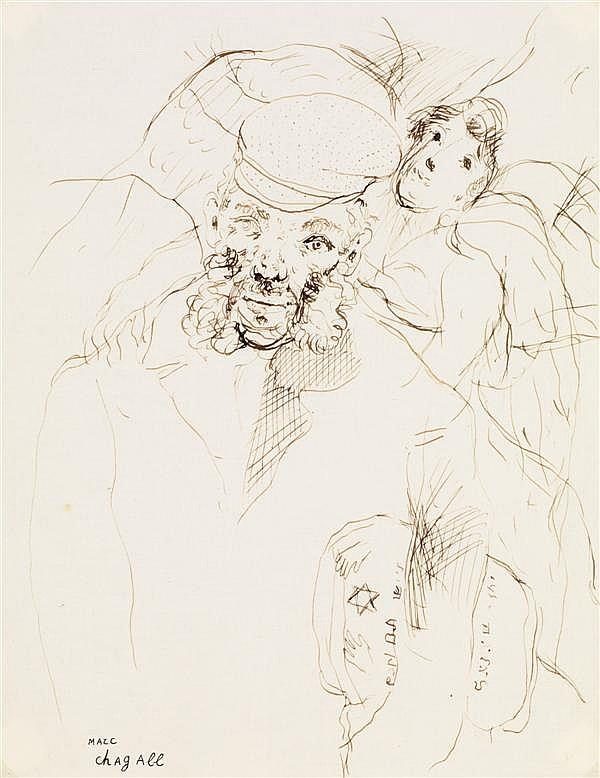 ƒMarc Chagall (1887-1985) Le vieil homme, 1925 Stylo et encre sur papier Signé en bas à gauche 26,8 x 20,8 cm