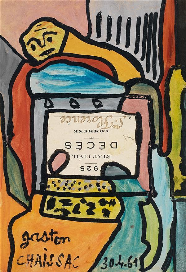 Gaston CHAISSAC (1910-1964) Acte de Décès, 1961 Aquarelle et gouache sur papier Signée et datée